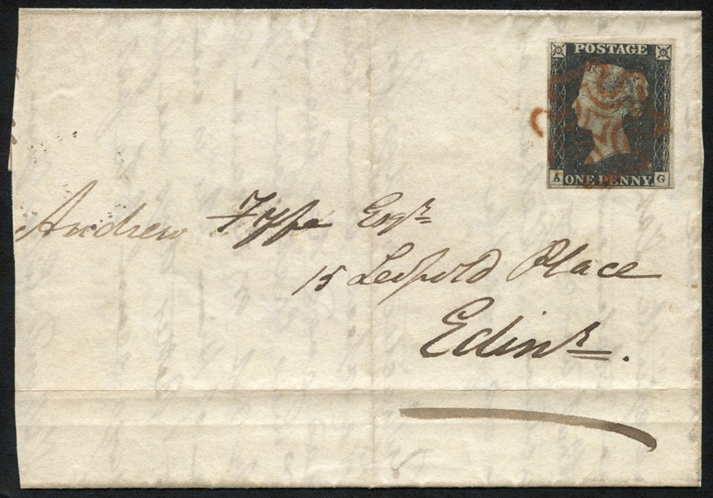 1840 Nov 13th wrapper to Edinburgh franked Pl.2 AG