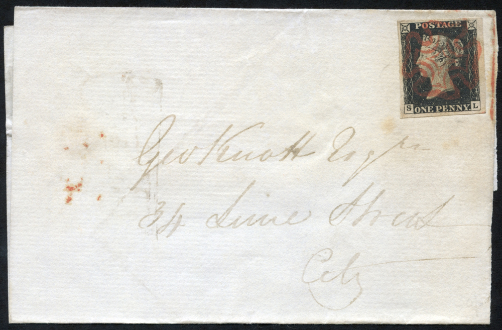 1840 July 21st wrapper used locally in London to Lime Street, franked Pl.4 SL