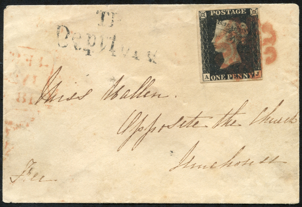 1840 July 24th small envelope to Limehouse, London, franked Pl.5 AJ