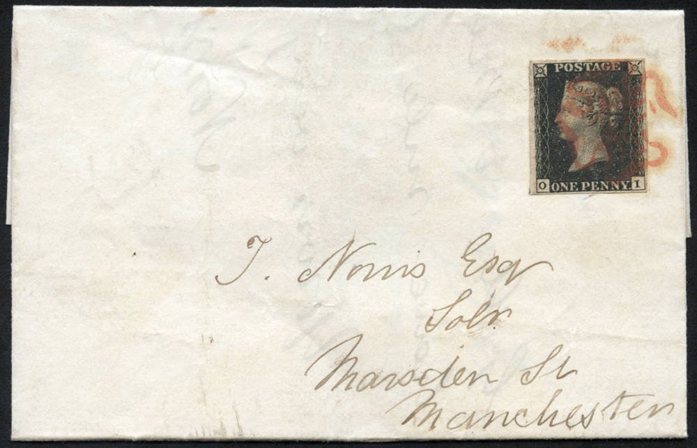 1841 Jan 28th cover to Manchester, franked Pl.5 OI