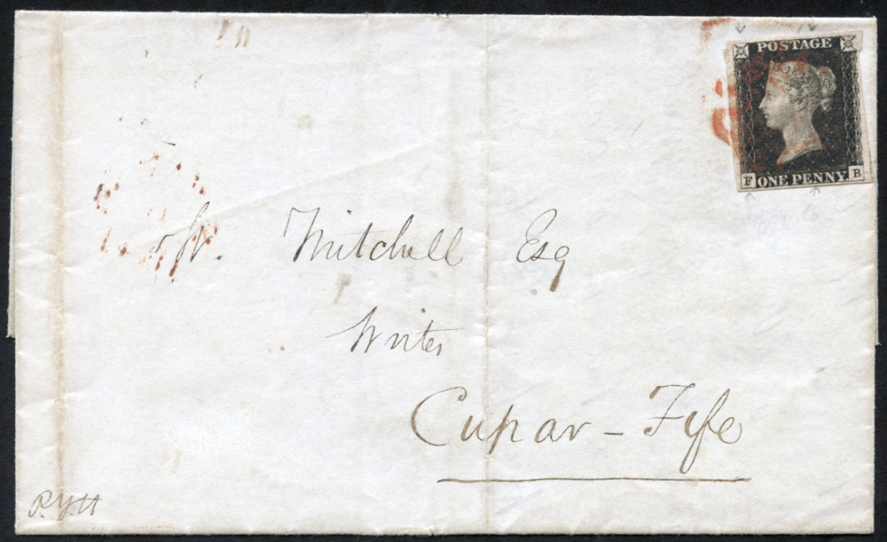 1841 Jan 4th cover from London to Cupar, Fife, franked Pl.6 FB