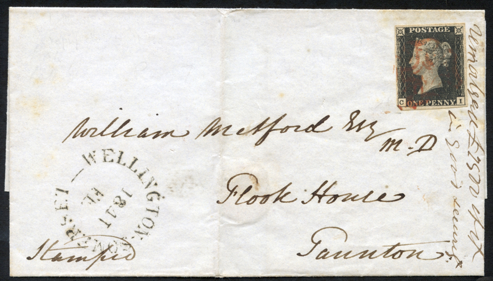 1841 Feb 4th cover from Wellington, Somerset to Taunton, franked Pl.7 CI
