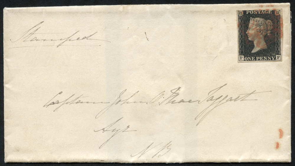1840 Dec 26th mourning cover to Ayr, North Britain, franked Pl.7 PF