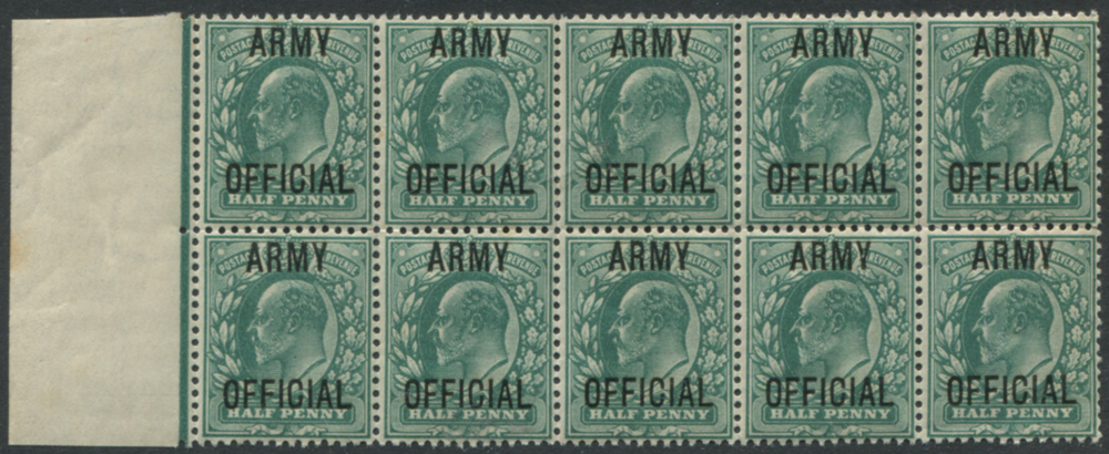 ARMY OFFICIAL 1902-03 ½d blue green UM block of ten