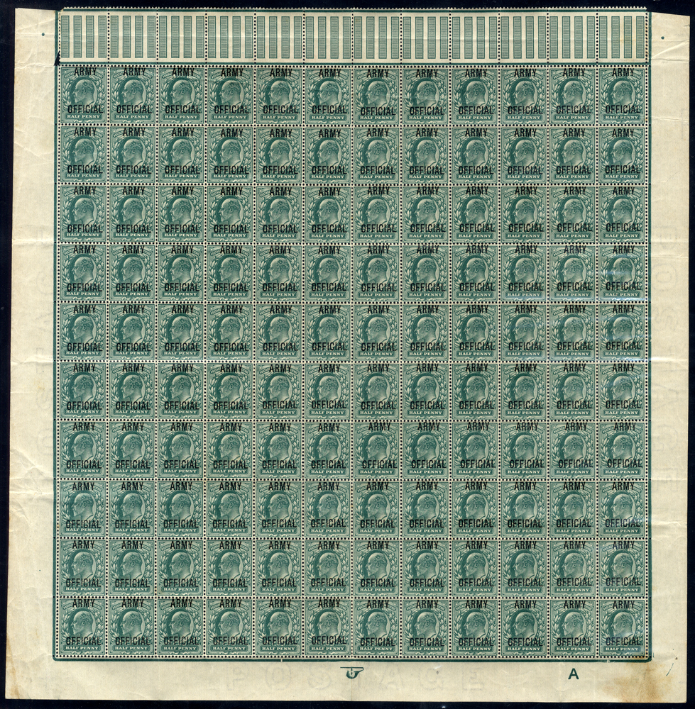 ARMY OFFICIAL 1902-03 ½d blue green - lower half sheet of 120 stamps from Control A (RARE MULTIPLE)
