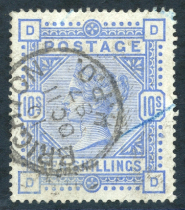 1883-84 10s ultramarine on blued paper - FINE USED with a Brighton c.d.s.