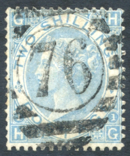 1867 2s milky blue - USED with barred oval '76' numeral