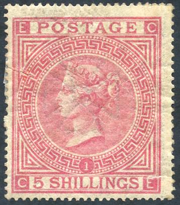 1867-83 Wmk Maltese Cross 5s rose Plate 1 - MINT