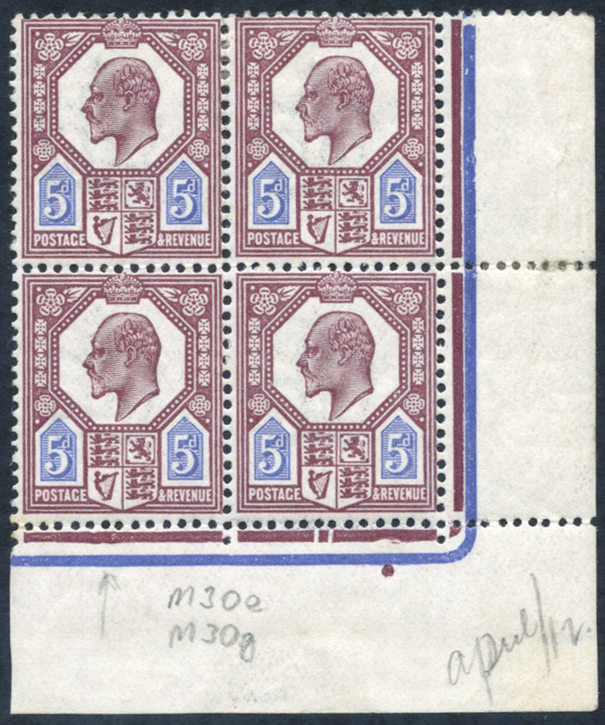 1911-13 5d dull reddish purple & bright blue corner marginal MINT block of four
