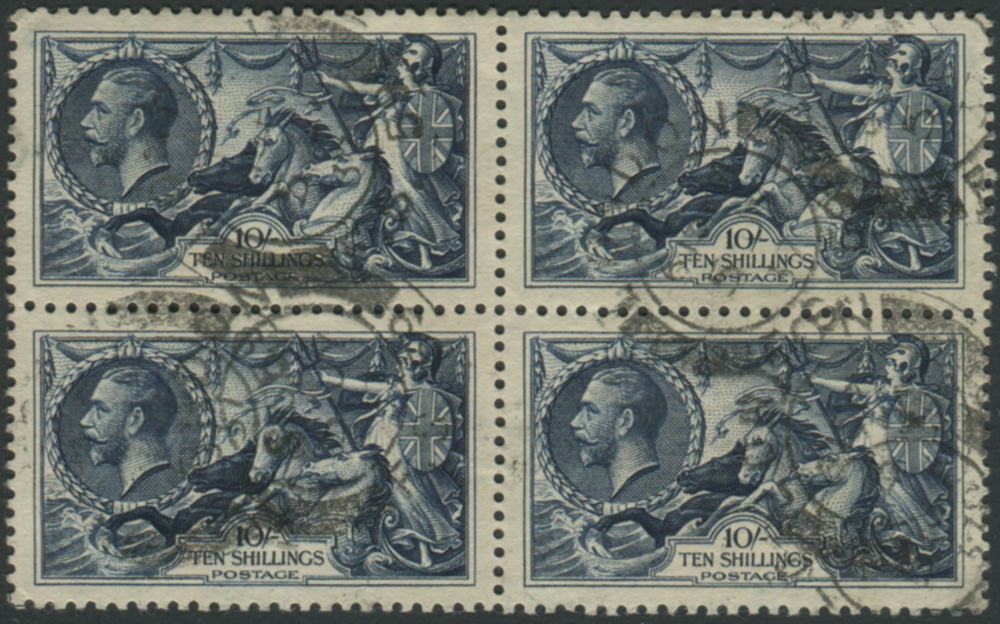 1934 Re-engraved 10s indigo block of four with London double ring c.d.s's