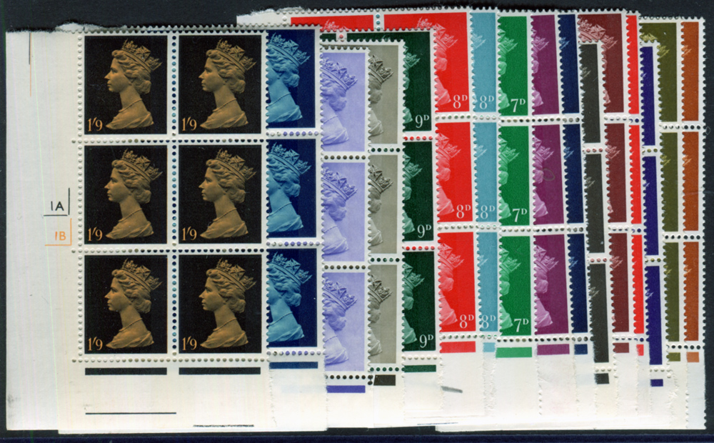 1967 £sd machin Definitive set - marginal Cylinder blocks of six
