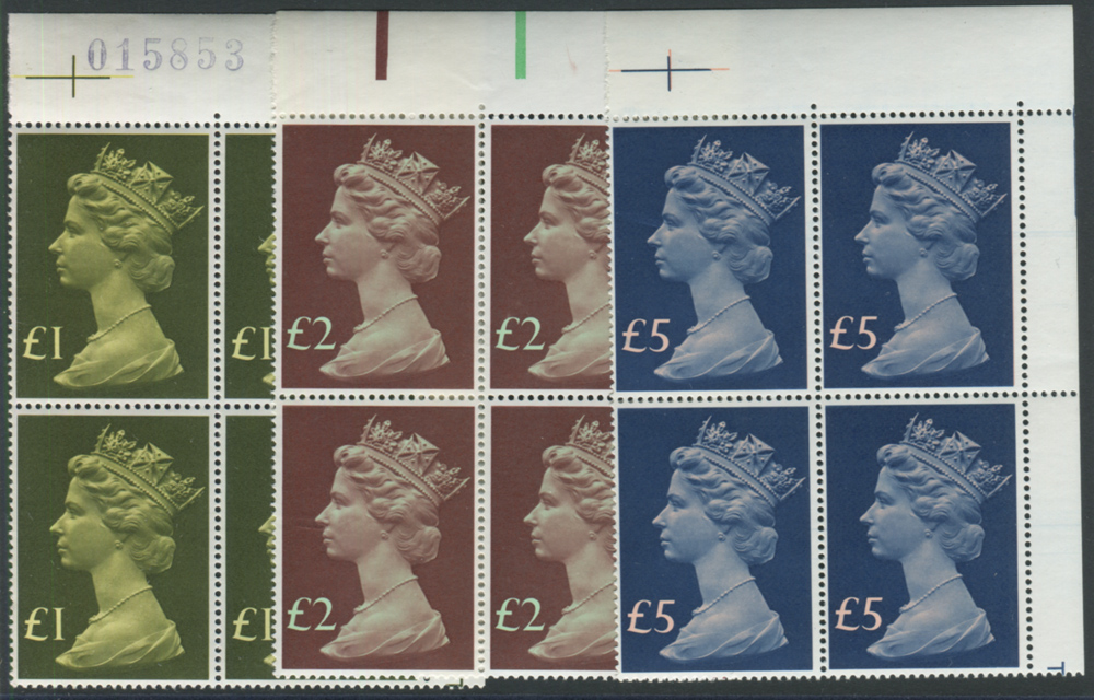 1977 £1, £2 & £5 Machin High Value set - UM marginal blocks of four