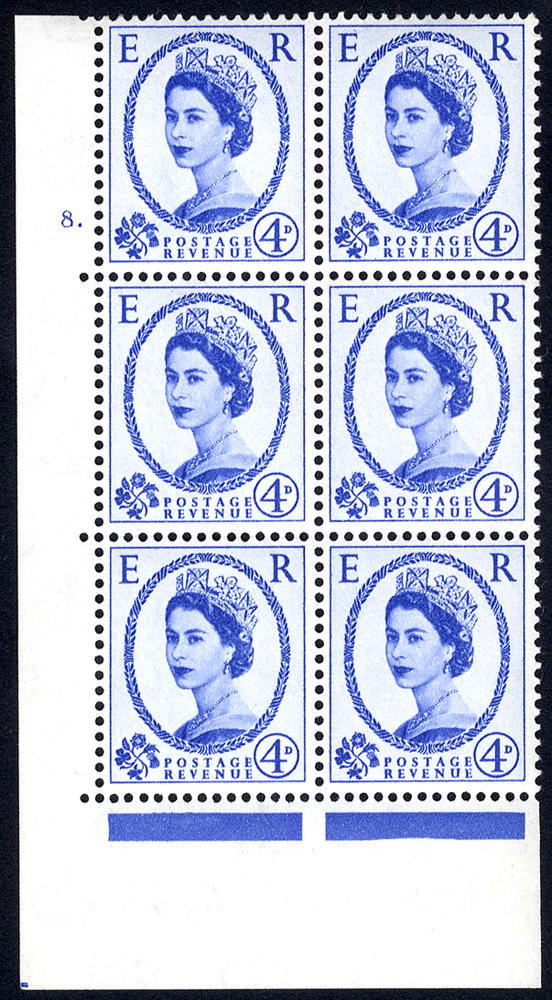 1958 Wilding 4d Crowns, cream paper, Perf Type A, Cyl. 8 dot - block of six