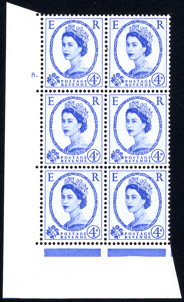 1958 Wilding 4d Crowns, white paper, Perf Type A, Cyl. 8 dot - block of six