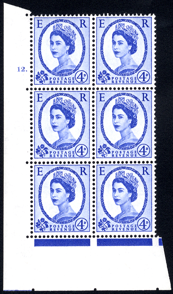 1958 Wilding 4d Crowns, white paper, Perf Type A, Cyl. 12 dot - block of six