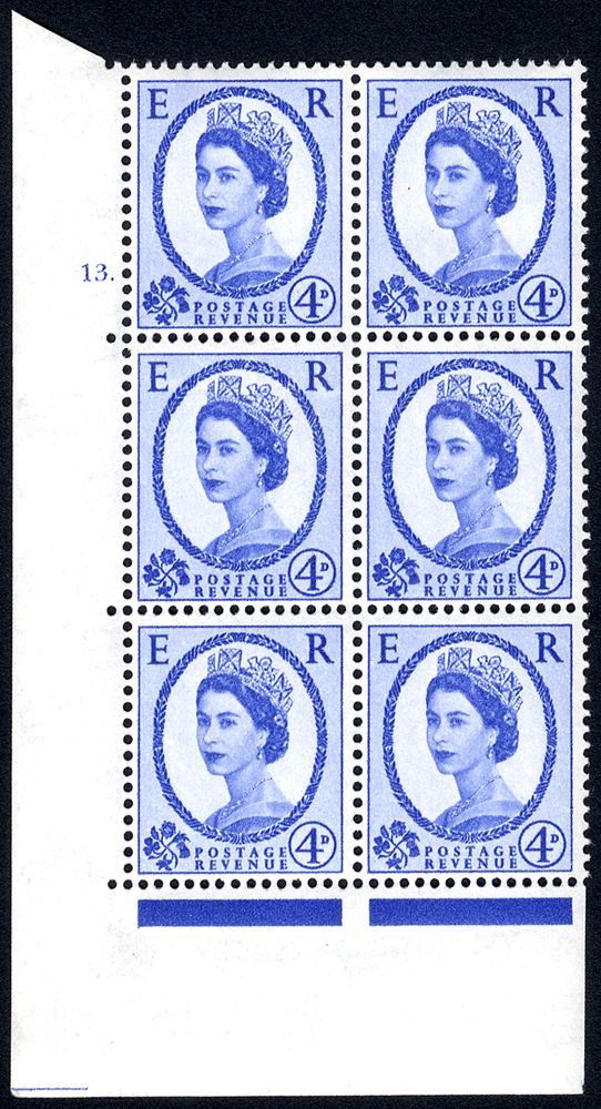 1958 Wilding 4d Crowns, white paper, Perf Type A, Cyl. 13 dot - block of six