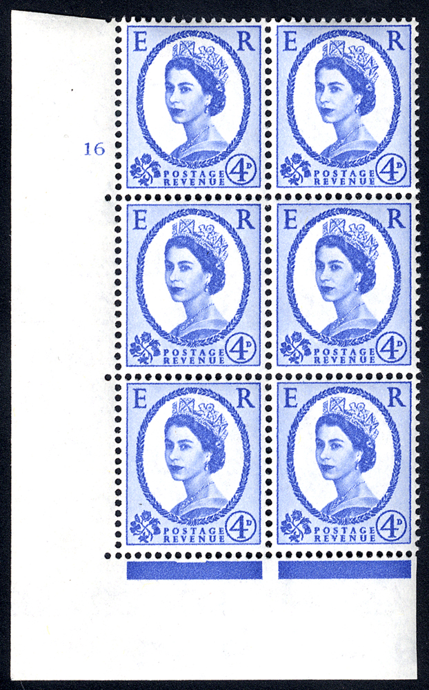 1958 Wilding 4d Crowns, white paper, Perf Type A, Cyl. 16 - block of six