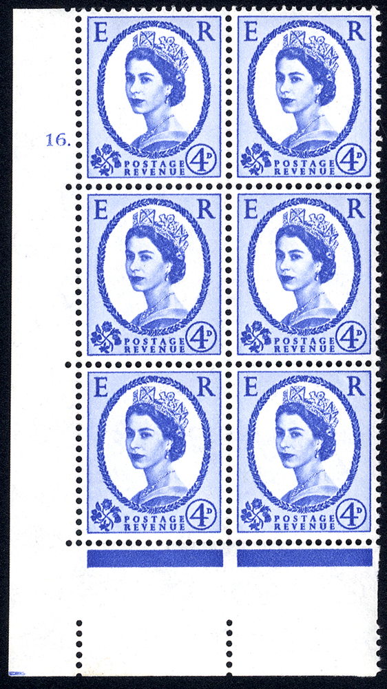 1958 Wilding 4d Crowns, white paper, Perf Type A, Cyl. 16 dot - block of six