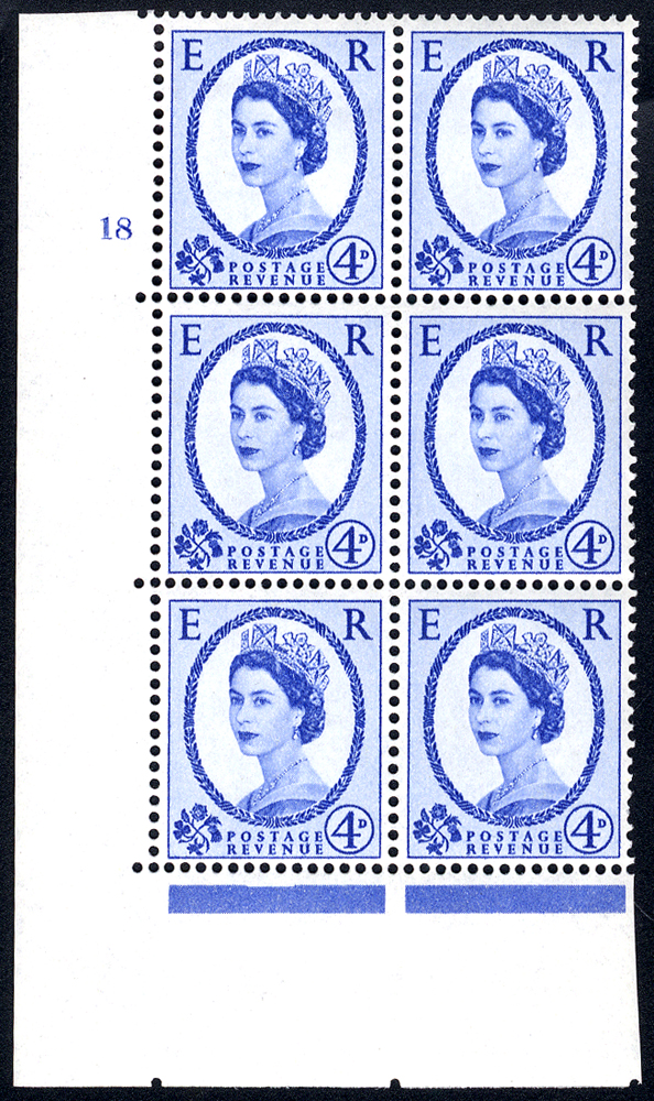 1958 Wilding 4d Crowns, white paper, Perf Type A, Cyl. 18 - block of six