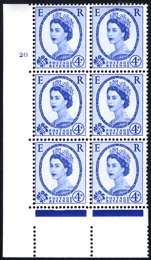 1958 Wilding 4d Crowns, white paper, Perf Type A, Cyl. 20 - block of six