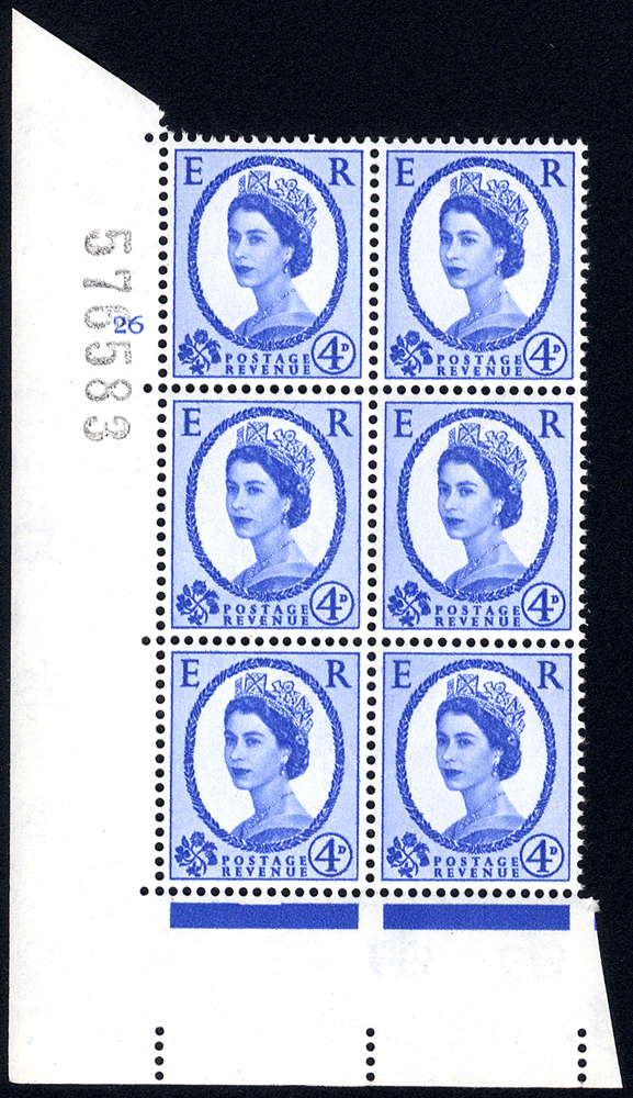 1958 Wilding 4d Crowns, white paper, Perf Type A, Cyl. 26 - block of six