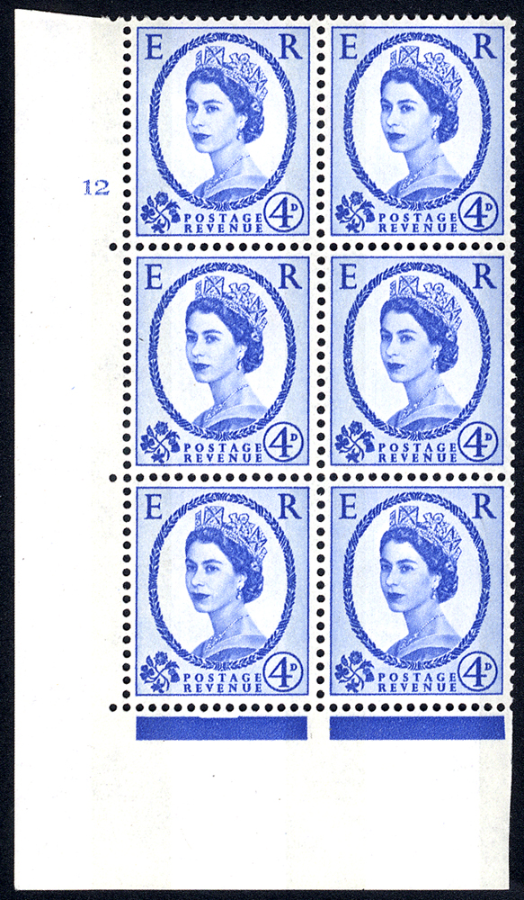 1967 Wilding 4d Crowns, blue phosphor (2 bands), white paper, Perf Type A, Cyl. 12 - block of six