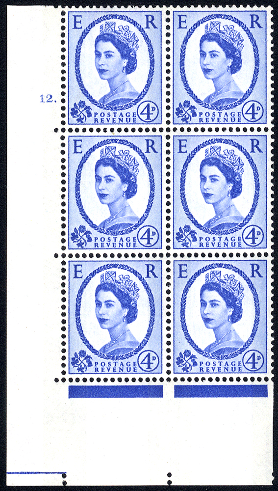 1967 Wilding 4d Crowns, blue phosphor (2 bands), white paper, Perf Type A, Cyl. 12 dot - block of six