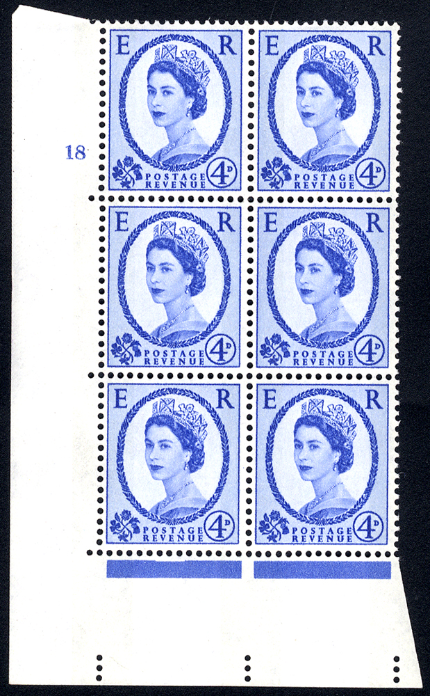 1967 Wilding 4d Crowns, violet phosphor, white paper, Perf Type A, Cyl. 18 - block of six