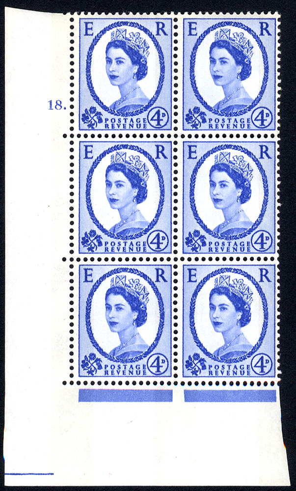 1967 Wilding 4d Crowns, violet phosphor, white paper, Perf Type A, Cyl. 18 dot - block of six