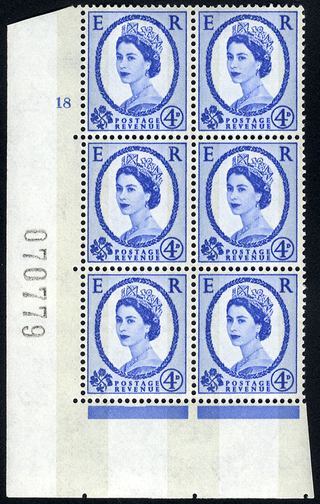 1967 Wilding 4d Crowns, violet phosphor, Perf Type A, Cyl. 18 - block of six