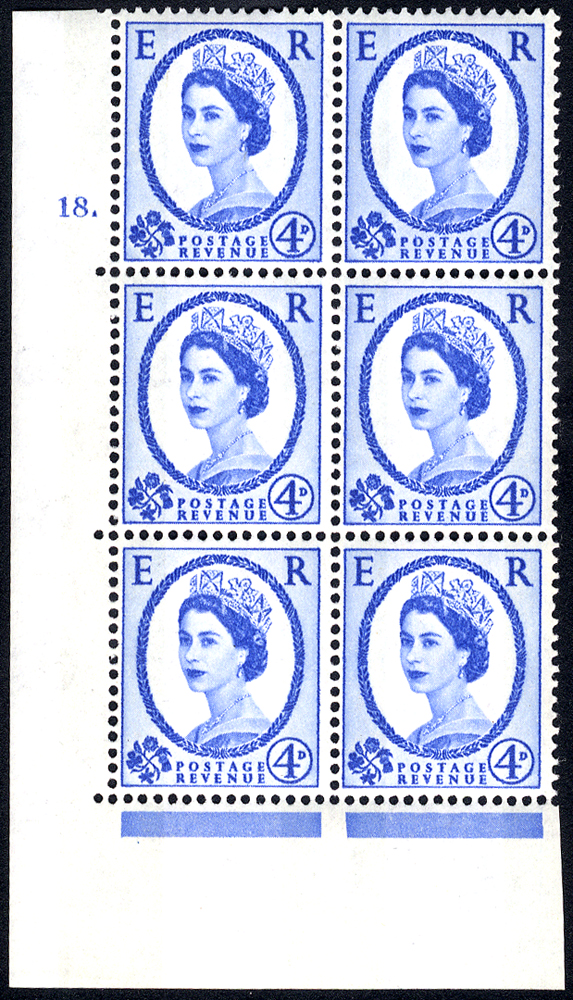 1967 Wilding 4d Crowns, violet phosphor, Perf Type A, Cyl. 18 dot - block of six