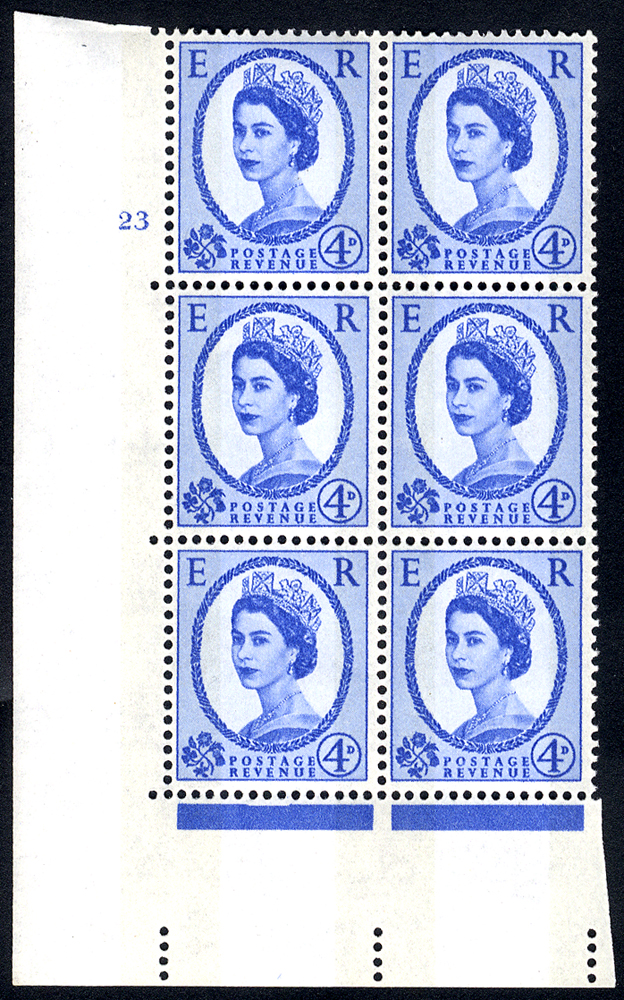 1967 Wilding 4d Crowns, violet phosphor, Perf Type A, Cyl. 23 - block of six