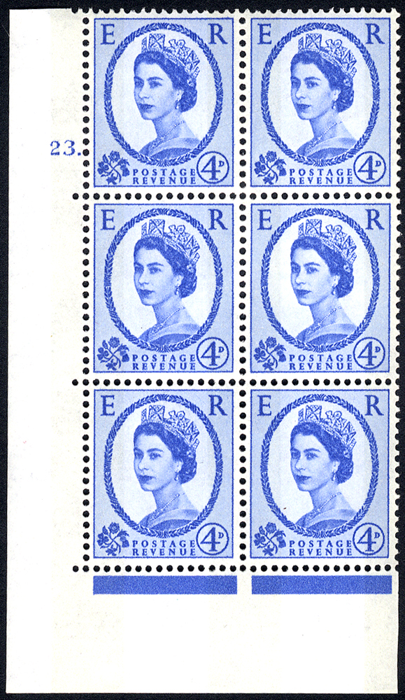 1967 Wilding 4d Crowns, violet phosphor, Perf Type A, Cyl. 23 dot - block of six
