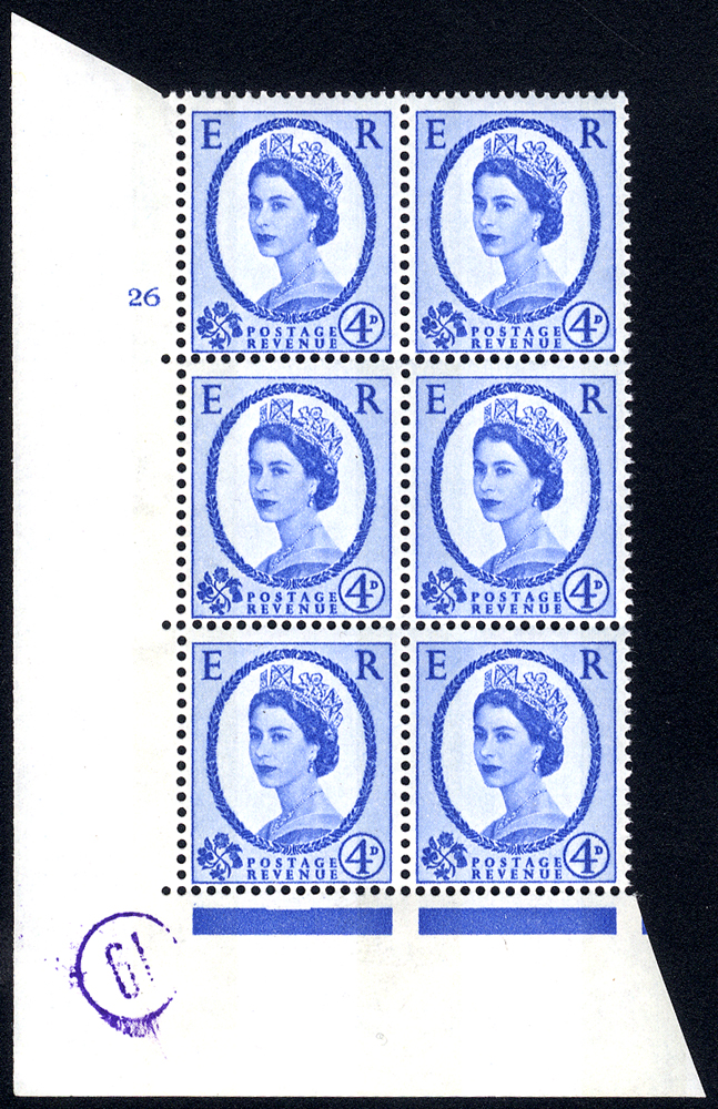 1967 Wilding 4d Crowns, violet phosphor, white paper, Perf Type A, Cyl. 26 - block of six