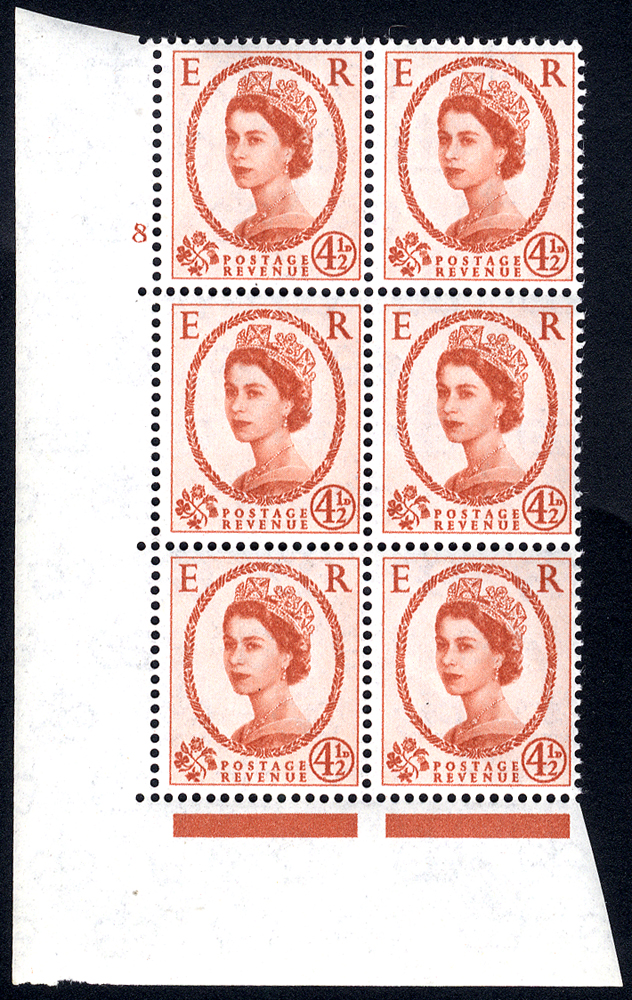 1959 Wilding 4½d Crowns, white paper, Perf Type A, Cyl. 8 - block of six