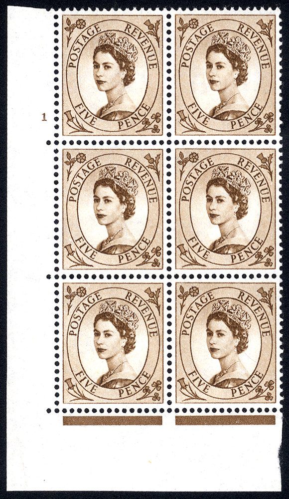 1958 Wilding 5d Crowns, white paper, Perf Type A, Cyl. 1 - block of six