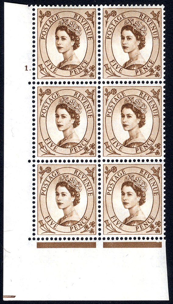 1958 Wilding 5d Crowns, white paper, Perf Type A, Cyl. 1 dot - block of six