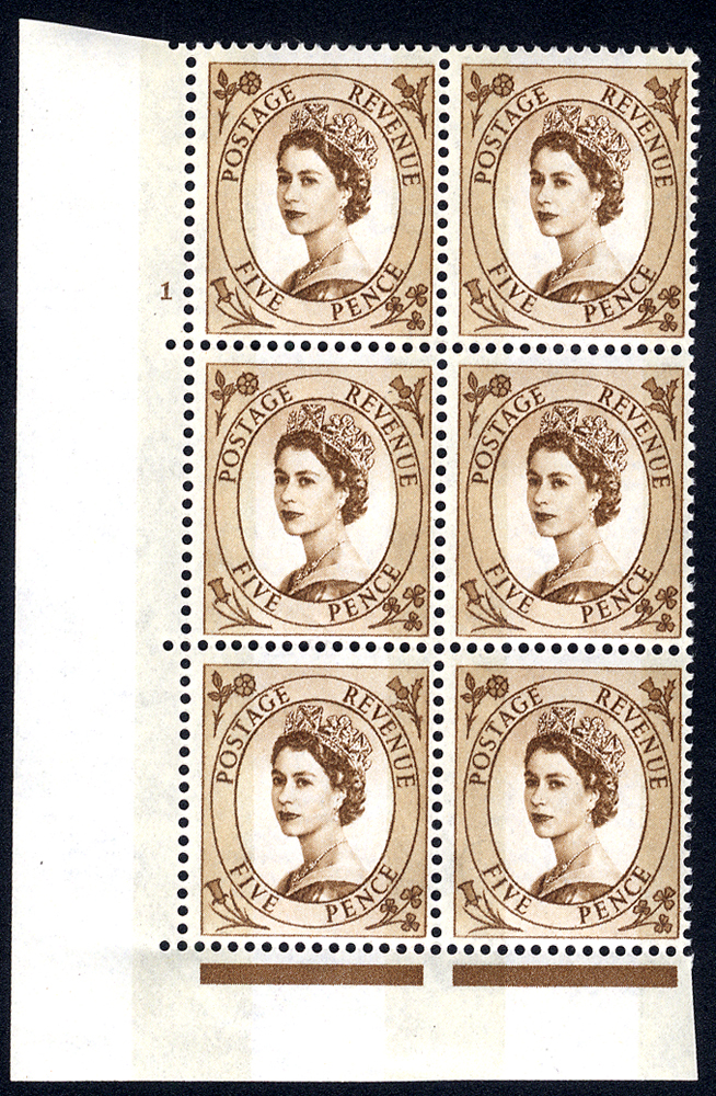 1960 Wilding 5d Crowns, violet phosphor, Perf Type A, Cyl. 1 - block of six