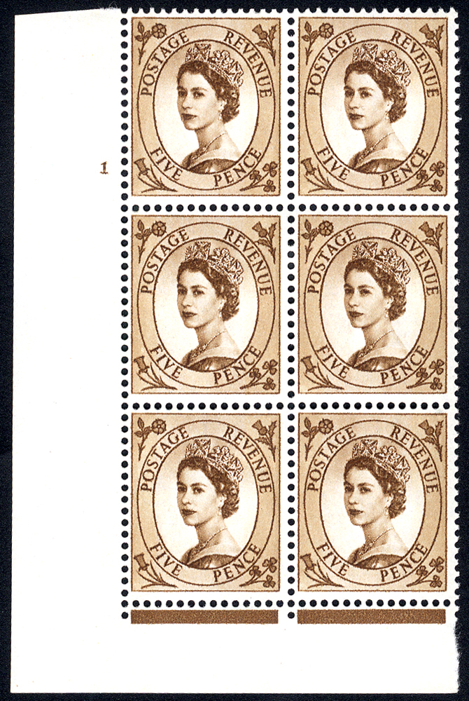 1960 Wilding 5d Crowns, violet phosphor, Perf Type F(L), Cyl. 1 - block of six