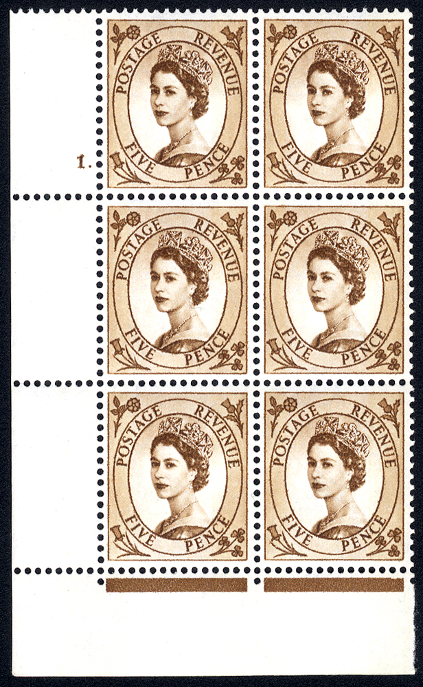 1960 Wilding 5d Crowns, violet phosphor, Perf Type F(L), Cyl. 1 dot - block of six