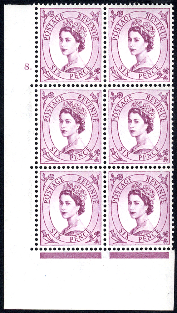 1954 Wilding 6d Crowns, white paper, Perf Type A, Cyl. 8 dot - block of six