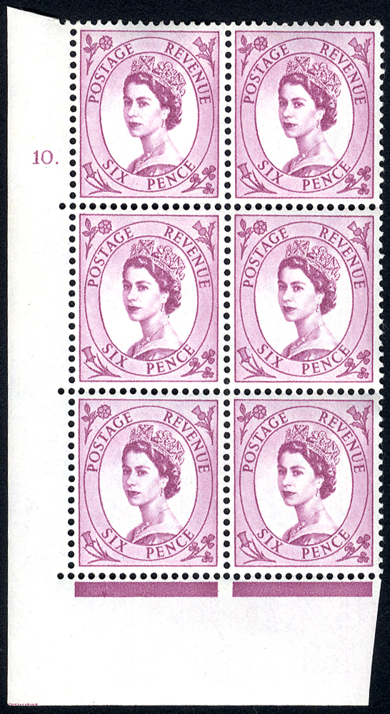 1954 Wilding 6d Crowns, white paper, Perf Type A, Cyl. 10 dot - block of six