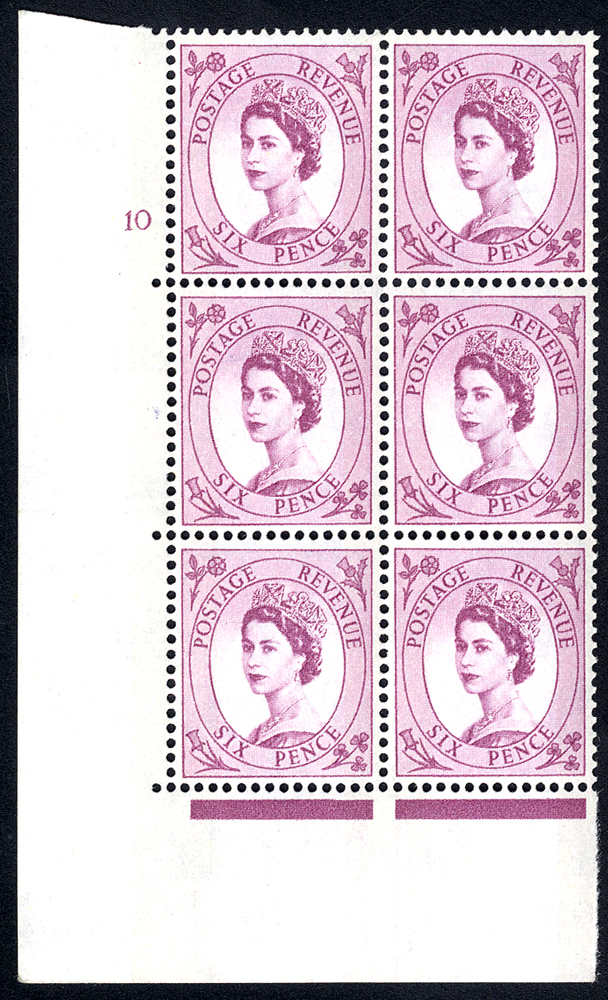 1961 Wilding 6d Crowns, blue phosphor (2 bands), white paper, Perf Type A, Cyl. 10 - block of six