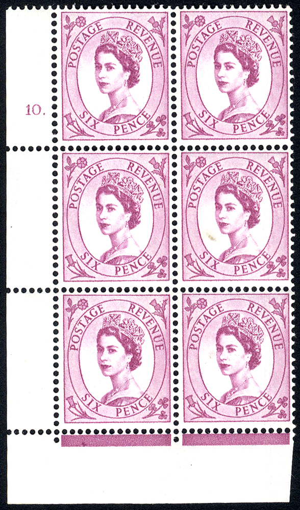 1961 Wilding 6d Crowns, violet phosphor, white paper, Perf Type F(L), Cyl. 10 dot - block of six