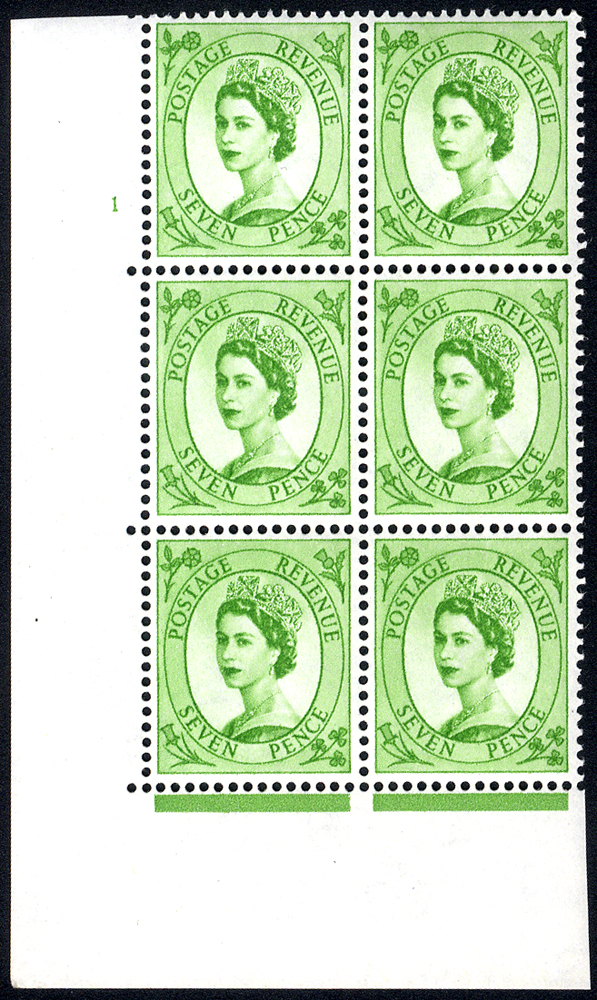 1958 Wilding 7d Crowns, white paper, Perf Type A, Cyl. 1 - block of six