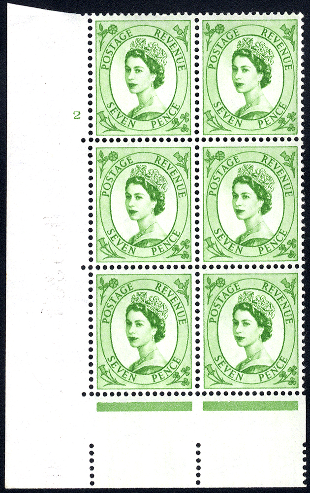 1958 Wilding 7d Crowns, white paper, Perf Type A, Cyl. 2 - block of six