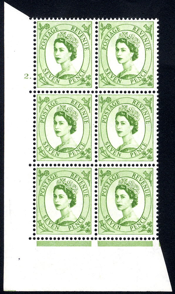 1958 Wilding 7d Crowns, white paper, Perf Type A, Cyl. 2 dot - block of six