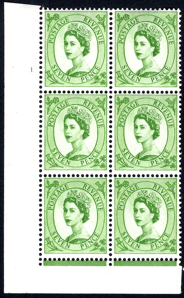 1958 Wilding 7d Crowns, violet phosphor, Perf Type F(L), Cyl. 1 - block of six