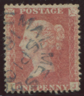 1857 1d rose-red Pl.44 , Fine USED cancelled by blue Malmesbury c.d.s