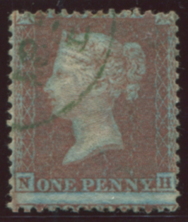 1855 1d red-brown Pl.4 on blued paper, superb USED, cancelled by a crisp green c.d.s.